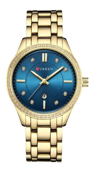 Relógio Feminino Dourado Quartzo De Luxo Curren Blanche 9010