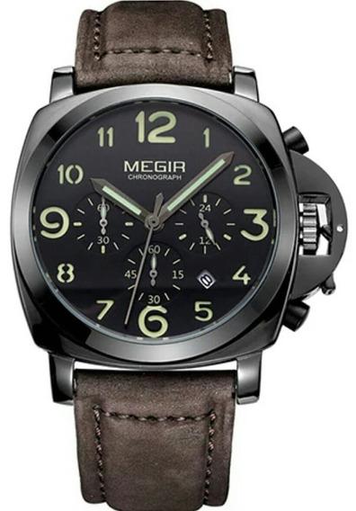 Relógio Megir 3406 Masculino Luxo Pulseira Marrom Reis Água