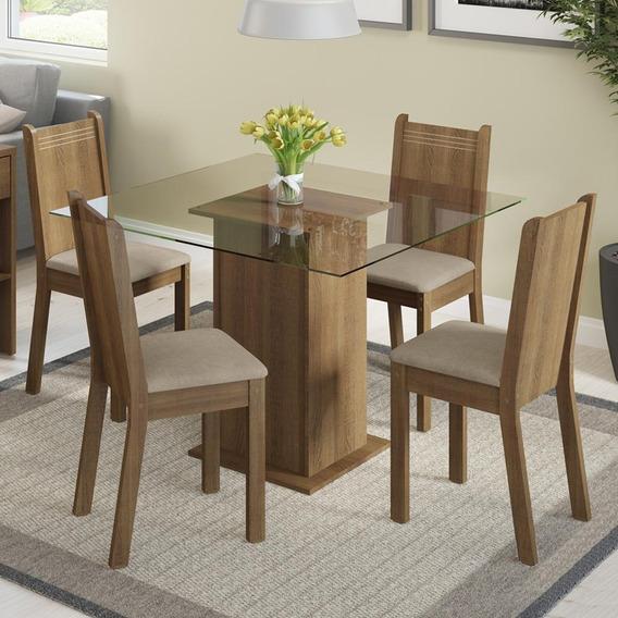 Conjunto Sala De Jantar Magda Madesa Mesa Com 4 Cadeiras