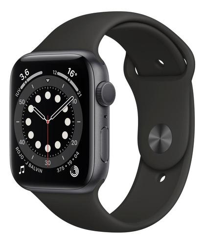 Imagen 1 de 8 de Apple Watch  Series 6 (GPS) - Caja de aluminio gris espacial de 44 mm - Correa deportiva negro