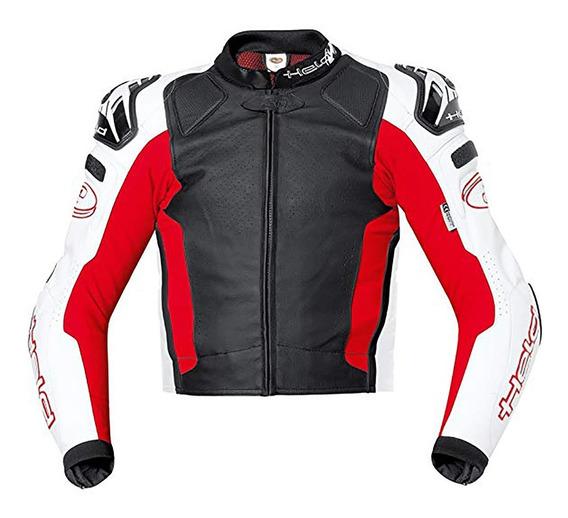 Campera Held Moto Protecciones Cuero Safer Rojo Ruta Alta Gama