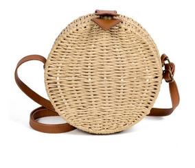 Bolsa Palha Forrada Circle Bag Blogueira Moda 2019