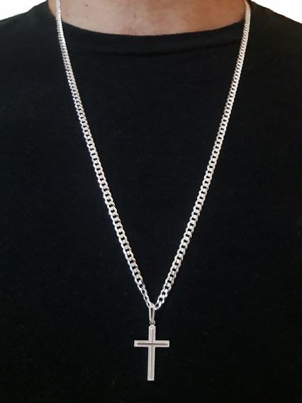 Corrente Groumet 70cm + Crucifixo Em Prata Pura 925 + Brinde