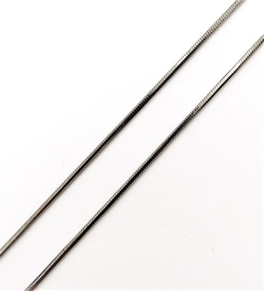 Corrente Cordão Rabo De Rato 80cm Banho De Ródio Negro 4399