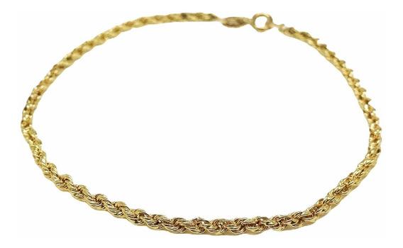 Pulseira Feminina De Ouro 18k Cordão Baiano 3,4 Gr 3mm 18cm