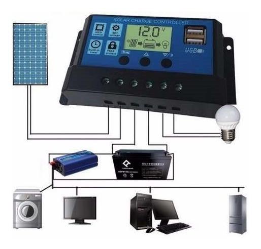 6 Controlador De Carga Solar 30a Lcd Usb Regulador Automatic