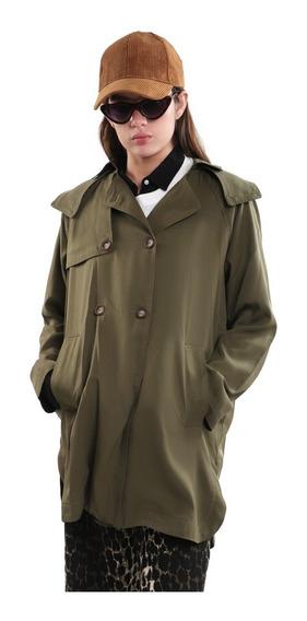 Abrigo Ligero Mujer Bolsillos Frontales Color Oro Lob