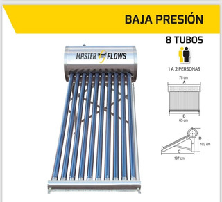 Calentador Solar 8 Tubos 94 Lts 1-2 Personas Instalación