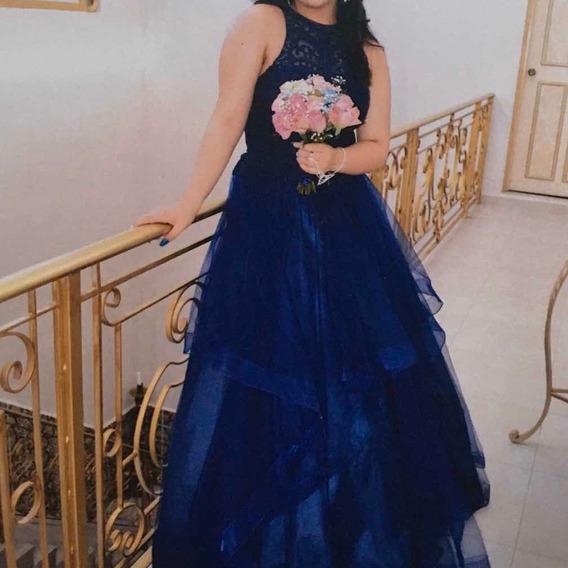 Vestido De Gala Largo Color Azul Rey, Sin Mangas