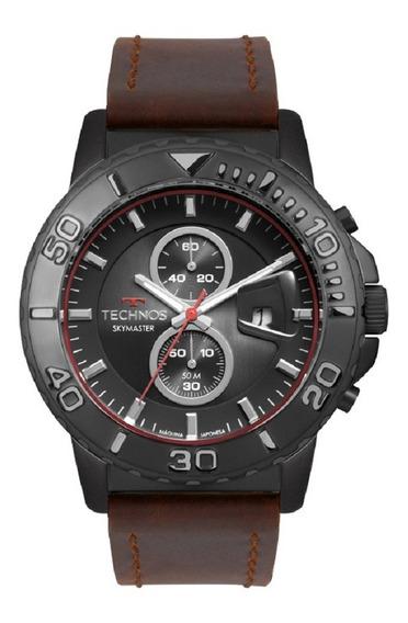 Relógio Technos Masculino Skymaster Os11eb/2p Preto Couro