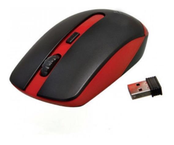 Mouse Óptico Sem Fio Wireless Usb Vermelho E Preto Weibo