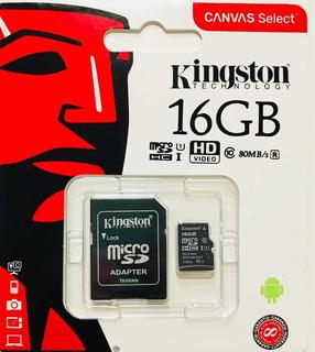 Tarjeta Memoria Micro Sd 16gb Kingston Clase 10 80mb/s