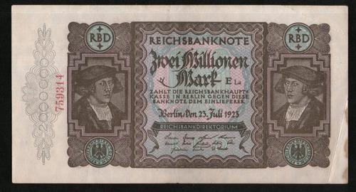Alemania Weimar Billete 2 Millionen Mark 1923 P#89a Argentvs
