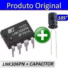 Kit 01 Lnk306pn + 02 Capacitor 4,7uf X 400v 105 Graus