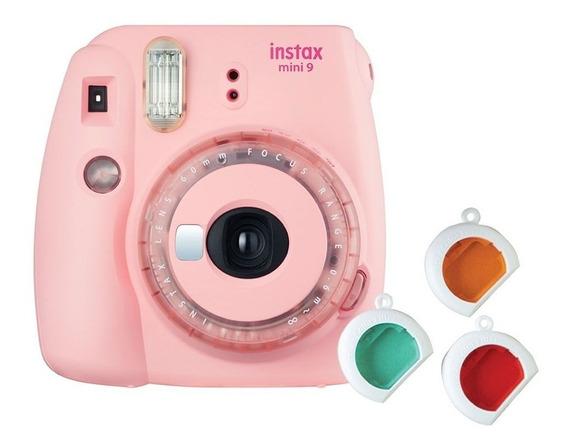 Câmera Instantânea Instax Mini 9 Rosa Chiclé C/ 3 Filtros