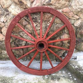 Roda De Carreta Antiga Madeira Grande Carroça 347