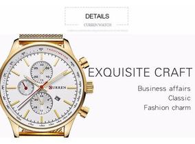 Relógio Masculino Curren Dourado Quartzo De Luxo Dos Famosos