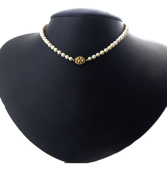 Colar De Pérola Em Degradê Fecho Ouro 18k E Diamante J22384