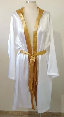 Robe De Cetim Com Capuz Branco E Dourado Mangas 3/4