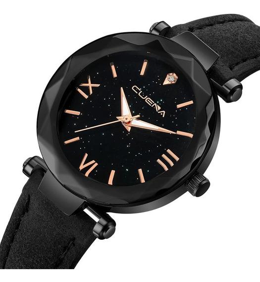 Relógio Preto Algarismo Romano Pulseira Couro + Frete Gratis