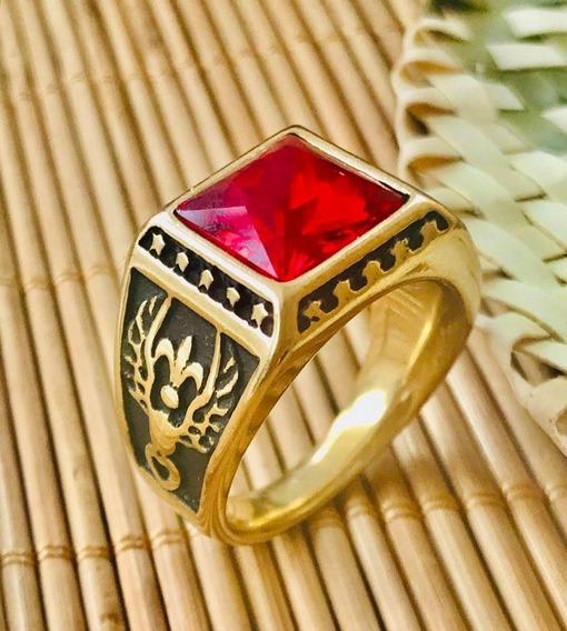 Anel Masculino Formatura Ouro Banho 18k Cristal Vermelho