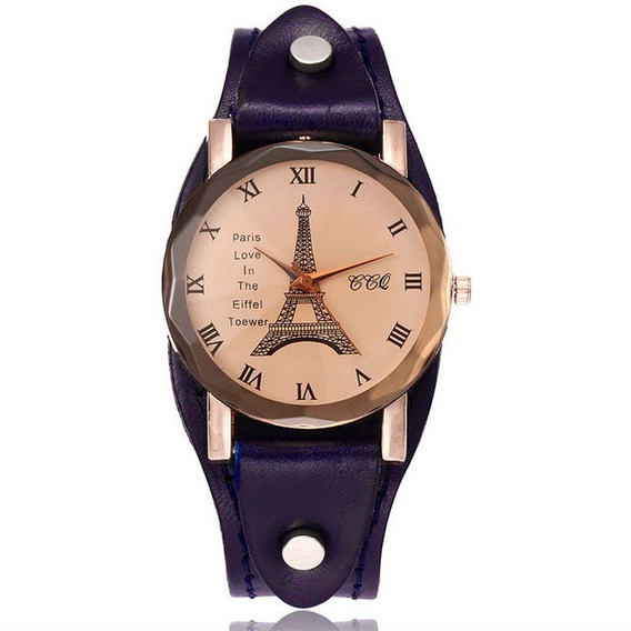 Relógio Bracelete Couro Legítimo Torre Eiffel Frete Grátis