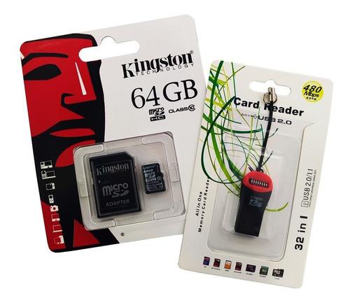 Combo Memoria Micro Sd Kingston 64gb + Adp. Sd + Adap. Usb