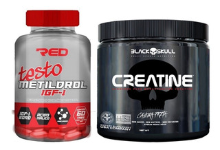 Kit Metildrol Red Series(60 Tabs)+ Creatina Black Skull 300g