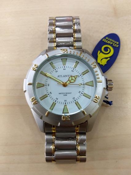 Relógio Atlantis Aço Dourado Com Prata Estilo Skydiver