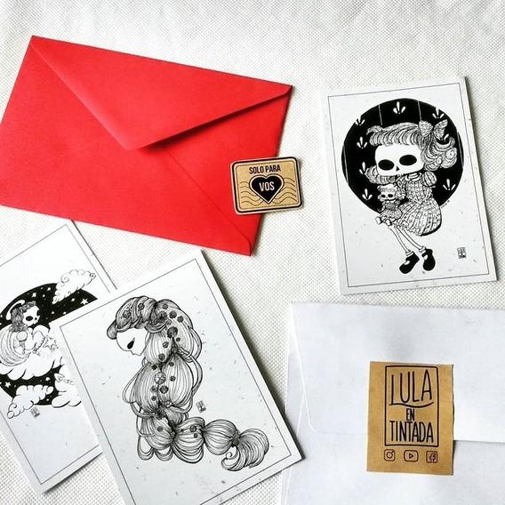 2 Postales Dibujo De Calaveritas Con Sobre + Envio Gratis