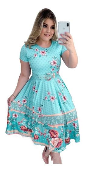 Vestido Feminino Moda Evangélica Midi Boneca Rodado Renda Princesa Festa Social Madrinha Barato Promoção