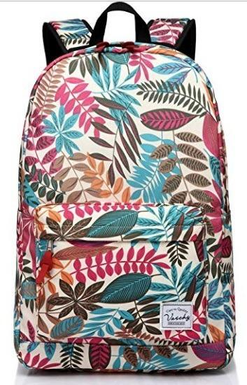 Mochila Para Niñas Escolar Laptop Vaschy Fashion Hojas