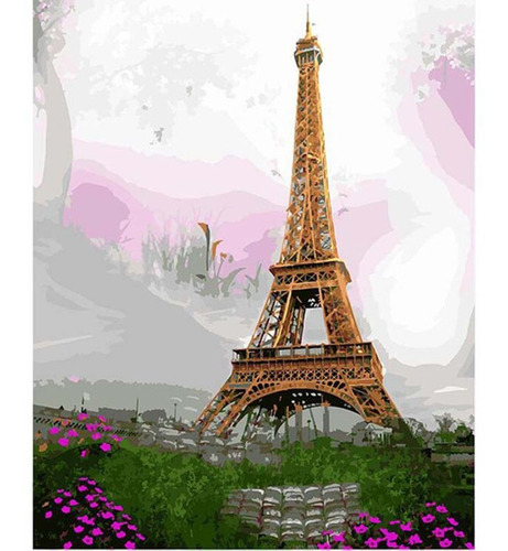 Pintura Numerada Torre Eiffel Na Primavera_p2