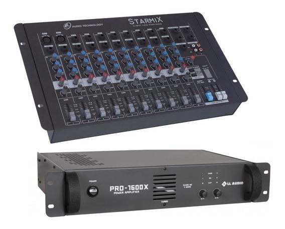 Kit Mesa Som 10 Canais Ll S1002d + Potencia Pro1600x 400w