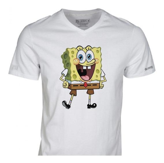 Camisetas Estampado Bob Esponja Nick Nickelodeon Hombre Ivk