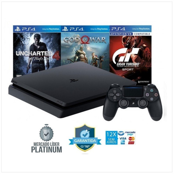 Ps4 Slim 500gb Sony Bivolt + 3 Jogos Exclusivos Ps4 Hdr