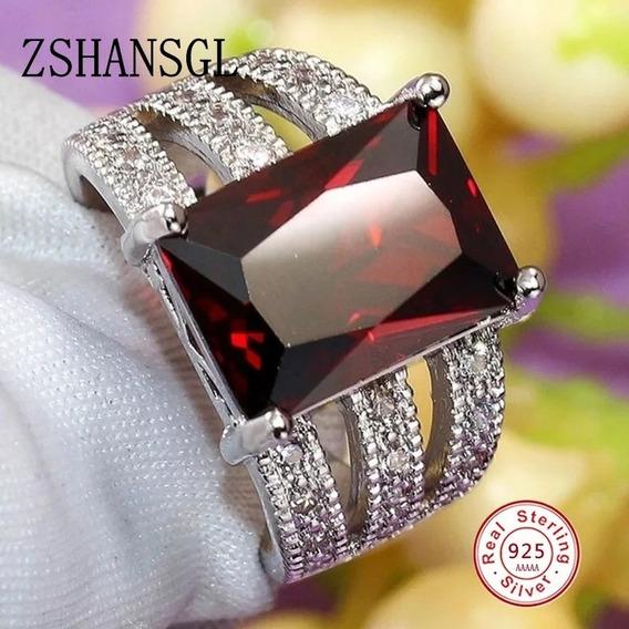 Anel Feminino Banhado Prata Pedra Vermelha Rubi Zirconia
