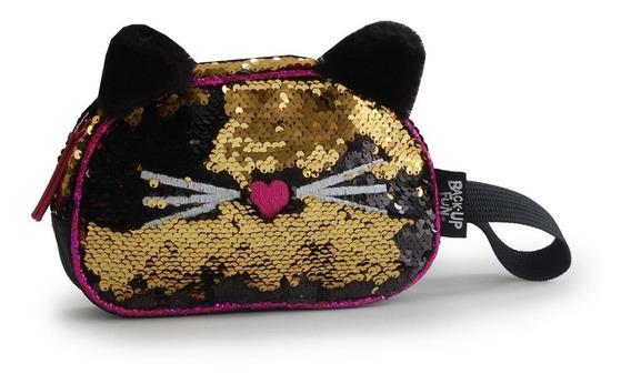 Estuche Sequins Lentejuelas Reversibles Kitty Con Orejas