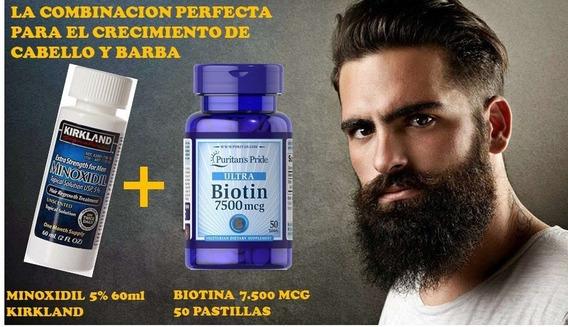 Minoxidil + Biotina Cabello Barba Kirkland Solucion Completa