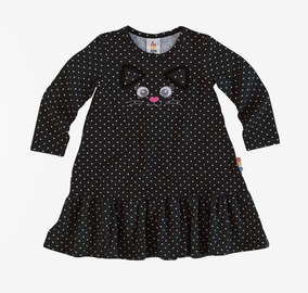 Vestido Infantil Malwee Zig Zig Zaa - Poá E Gatinho Preto