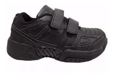Zapatillas Wilson Tenis Junior Negras Niños Colegio Escuela