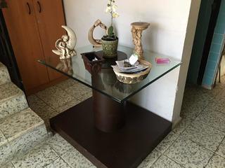 Mesa Resividor De Cristal Y Madera