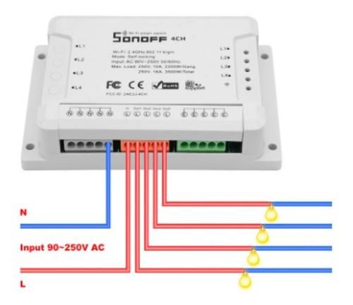 Interruptor 4ch R2 Para Cuatro Circuitos Sonoff - Domotica