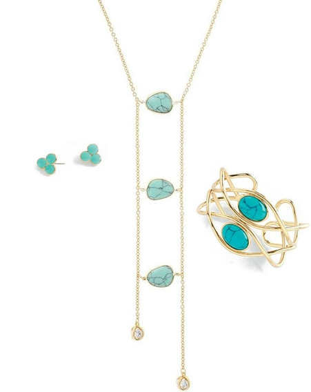 Nice Collar Con Turquesa+pulsera+aretes Baño Oro18k C/envio