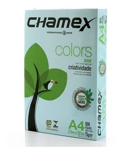 Papel Sulfite Colors Azul 75g A4 210x297mm Pt 500 Fl Chamex