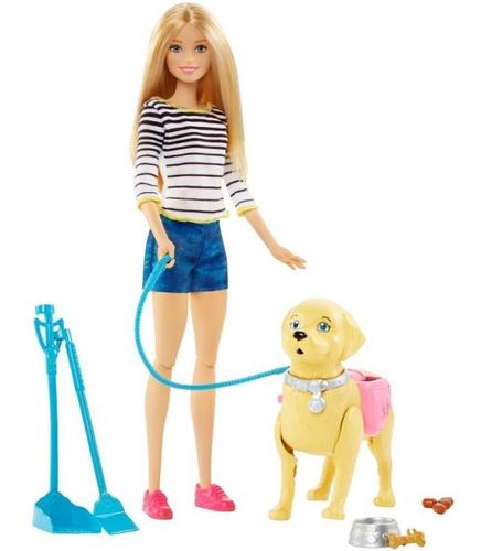 Imagen 1 de 2 de Barbie Paseo De Perrito Mattel Dwj68