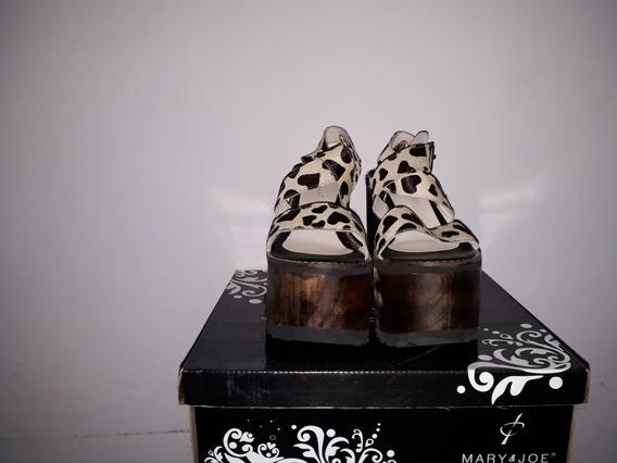 Sandalias Con Plataforma Mary&joe Talle38 Cuero Animalprint