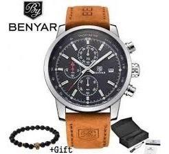 Relógio Masculino Benyar 5102 Couro Legítimo 100% Funcional