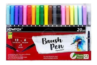 Caneta Pincel Brush Pen Aquarela Com 20 Newpen Com Blender