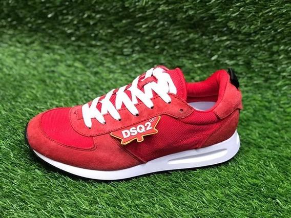 Tenis Dsquared2 Rojo Red Oscuro Dscto + Envgratis